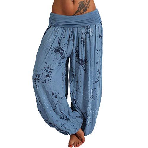 Muyise Damen Plus Size Haremshose Mit Gesmoktem Bund Print Lose Beiläufige Elastische High Waist Weitehose Yoga Hosen Travel Lounge Pants Freizeithose Trousers (Blau2,XL)