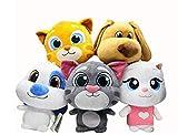 MQJ 5Pc Talking Tom Cat Gato Peluche Juguetes para Niños Lindo Ragdoll Muñecas Muñecas Regalos de Cumpleaños para Niños Y Niñas 20Cm (Sin Voz)