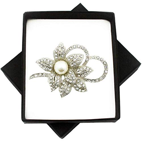 New Silver Brooch Large Pearl PIN for Women in Black Presentation Box from UK Seller