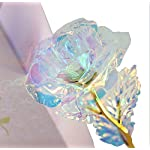 meywell rose flower gift crystal colorful forever rose in glass dome artificial flower rose gift with gift boxes for mother's day,valentine's day, christmas day gift, wedding