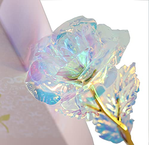 MEYWELL Rose Flower Gift Crystal Colorful Forever Rose in Glass Dome Artificial Flower Rose Gift with Gift Boxes for Mother's Day,Valentine's Day, Christmas Day Gift, Wedding Silk Flower Arrangements