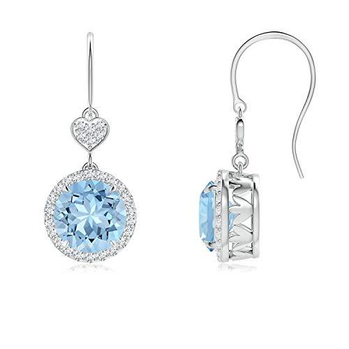 Orecchini pendenti con acquamarina a forma di cuore con diamante (7 mm acquamarina) e Oro bianco, cod. ANG-E-SE1043AQD_N-WGN-AAA-7