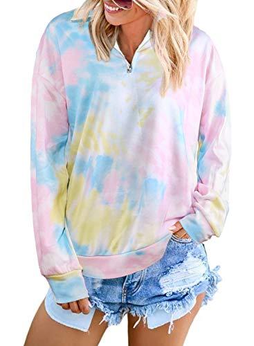 AlvaQ Damen-Pullover mit Viertelreißverschluss, Colorblock-Stil, Sweatshirt mit Taschen (9 Farben, S-XXL) - - X-Groß
