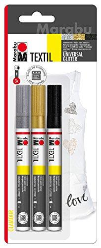 Marabu 0119000000080 - Textil Painter glitter, Stoffmalstifte für helle und dunkle Stoffe, auf Wasserbasis, Universalspitze mit Strichstärke ca. 3 mm, 3 Stifte in glitzer schwarz, silber und gold