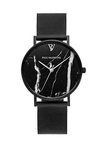 Paul Valentine ® Damenuhr Black Marble Mesh Armband schwarz Uhr Damen Marmor Ziffernblatt Silberne Initialien (36 mm, Black Mesh)