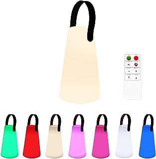 Lampe de Table Rechargeable LED 8 Couleurs Lanterne lumière blanche de jardin avec anse en bois sans fil batterie à LED ro...