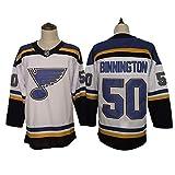 HYQ NHL Maillots St. Louis Blues 90# 55# 10# Vêtements de Sport pour Hommes Sweat Stitched Numéros Lettres, Équipe Uniforme Broderie Jersey,White #50,L/52