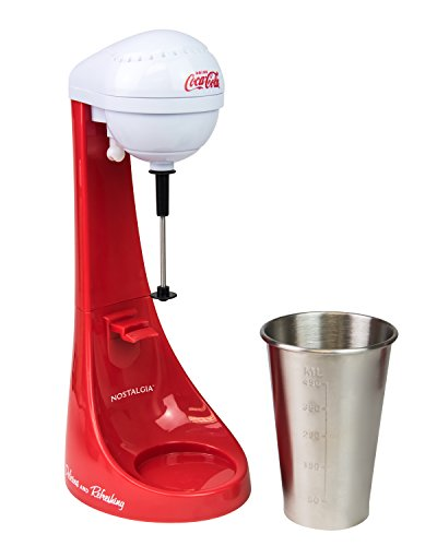 Nostalgia Two-Speed Electric Coca-Cola Limited Edition Milkshake Maker and Drink Mixer, Includes 16-Ounce Stainless Steel Mixing Cup & Rod-Red, 16...