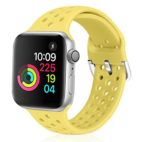 Correa deportiva Vodtian compatible con correa de reloj Apple de 38mm 40mm, suave y transpirable, de silicona compatible con iWatch Series 6/5/4/3/2/1 para mujeres y hombres (amarillo, 38mm/40mm)