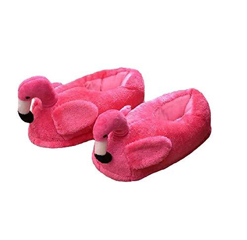 Yuchen Flamingo Hausschuhe Größe: 38-42 Hausschuhe Plüsch Tierschuhe (38-42 EU, Rose Red, 38)