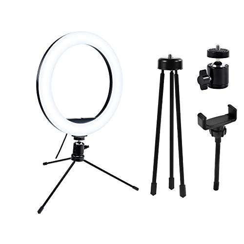 Anillo de Luz,Aro de Luz con Trípode para Móvil,Mini Selfie Aro de Luz Anillo de Luz con 3 Modos Luz +10 Niveles de Brillo para Tiktok,Selfie,Vlog,Youtube