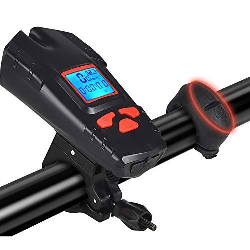 ZJJ Computadora de Bicicletas inalámbricas con Altavoz y Linterna USB Afile a...