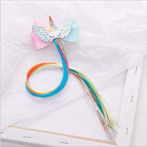 Child Twist Hair Clip Simple Barrette Butterfly Unicorn Hair Rope Accessories Kids Wig Rope Hair Head Wear 40cm unicorn B