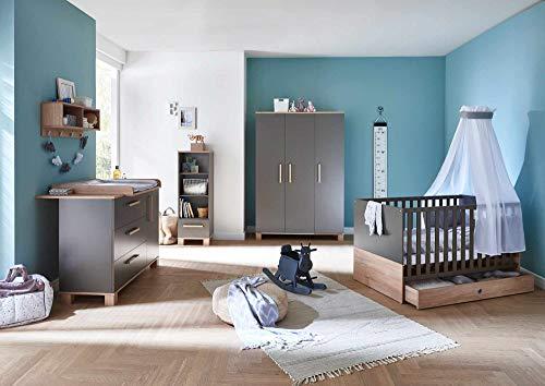 lifestyle4living Babyzimmer 4 Teile, Komplett-Set in Lava Matt, Absetzungen in Eiche Sägerau, modernes Kinderzimmer für Jungen und Mädchen