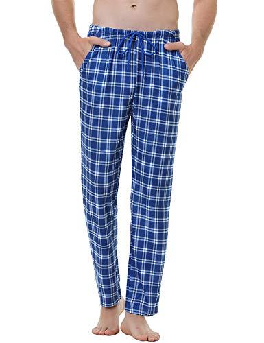 Aiboria Herren Schlafanzughose Lang Pyjamahose Baumwolle Freizeithose Sleep Hose Lang Kariert Loungewear Nachtwäsche Hose