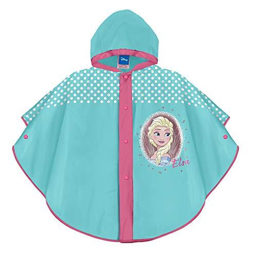 PERLETTI Poncho Impermeable Disney Frozen 2 Súper Colorado - Chubasquero de Lluvia para Niña con Capucha y Botones - Estampado Elsa y Detalles Blanco
