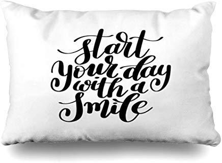 GFGKKGJFF0807 Funda de cojín con Texto en inglés Helpful Positive Start Your Day (40 x 60 cm), diseño de Frases abstractas
