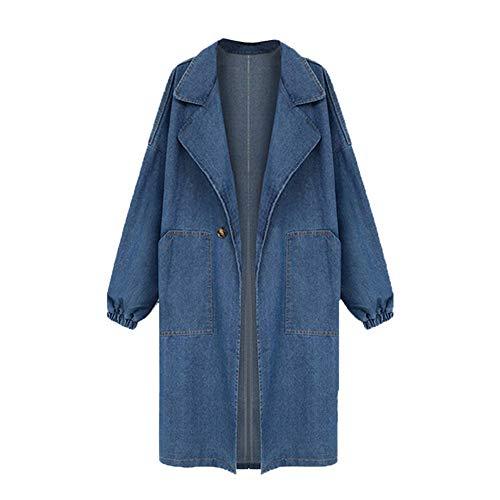 Lulupi Jeansmantel Damen Oversize Jeansjacke Lange Große Größen Denim Jeans Jacke Übergangsjacke Winterjacke Casual Coat Outwear