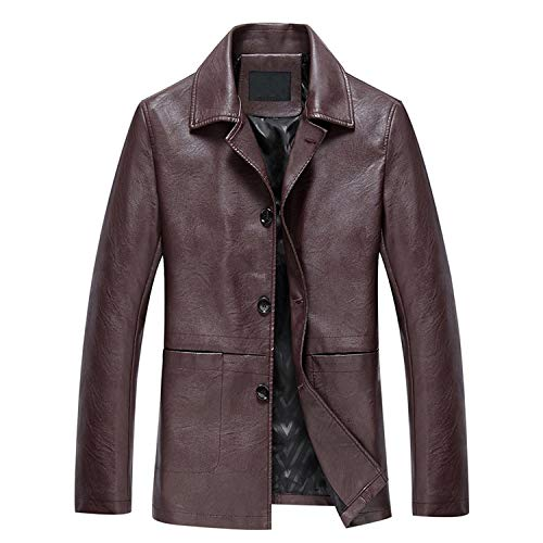 High Grade Leather Jacket Motorcycle Clothing Leather Jacket Coat Windproof,Brown,XXL