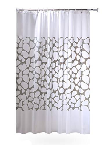 MaxAst Weiß Stein Duschvorhang Anti Schimmel, Peva Badewanne Vorhang 200x200CM, Antibakteriell Wasserdicht mit Ringe
