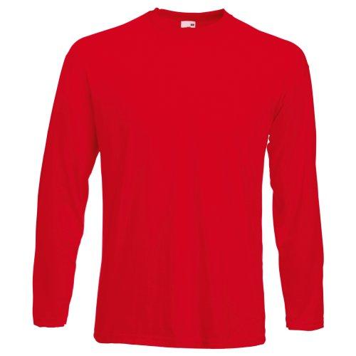 Fruit of the Loom - Camiseta Básica de Manga Larga para Hombre - Calidad/Precio (Grande (L)) (Rojo)