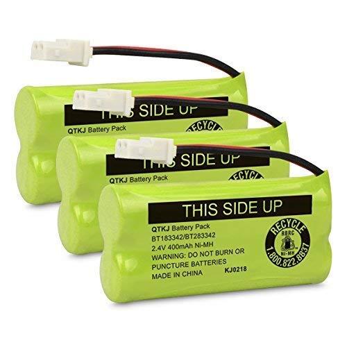 QTKJ BT183342 BT166342 BT266342 BT283342 BT162342 BT262342 Cordless Phone Battery for AT&T CL4940 EL52300 CL80113 CL80111 CL80112 VTech CS6114 CS6419 CS6719 CS6649 DS6151 Handset (Pack of 3)