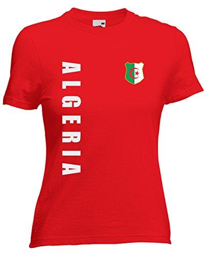 Algerien Algeria Damen T-Shirt Trikot Wunschname Wunschnummer (Rot, XXL)