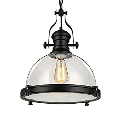 "Industrial Nautical Transparent Glass Pendant Light-LITFAD 12"" Clear Ceiling Chandelier Hanging Light Fixture Max.40W"