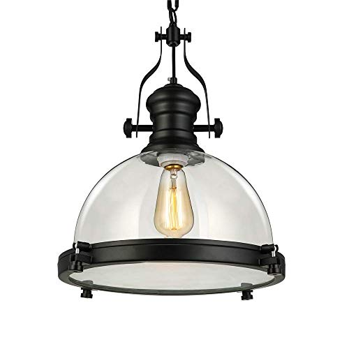 """LITFAD Industrial Nautical Transparent Glass Pendant Light 16"""" Clear Ceiling Chandelier Hanging Light Fixture for Dining Room Living Room Restaurant Bar Max.40W"""