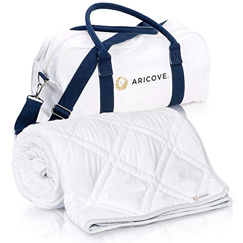 """Aricove Cooling Weighted Blanket, 12 lbs, 48""""x72"""", Certified Premium Soft Bamboo in White Color, Luxury Quality in Twin Size for Individual Use or Gifts"""