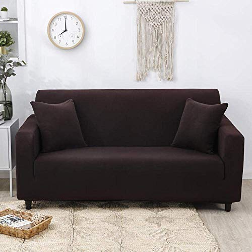 ZHBH Sofa Slipcover Stretch Elastic Fabric Dark Brown Chair Loveseat Couch Settee Sofa Covers - Polyester Spandex Printed Sofa Slipcovers Furniture Protector Cover with 1 Pillowcase