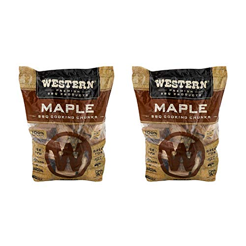 Western BBQ Maple Barbecue Flavor Wood Cooking Chunks for Grilling and Smoking Poultry, Pork, and Vegetables (2-Pack)