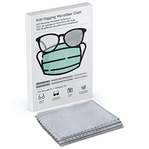 Antibeschlag Microfaser Brillenputztuch für Brillen | Bis zu 250 Mal Wiederverwendbar | Bis zu 12 Std. sofort Schutz | Schützt vor beschlagen Brillengläsern