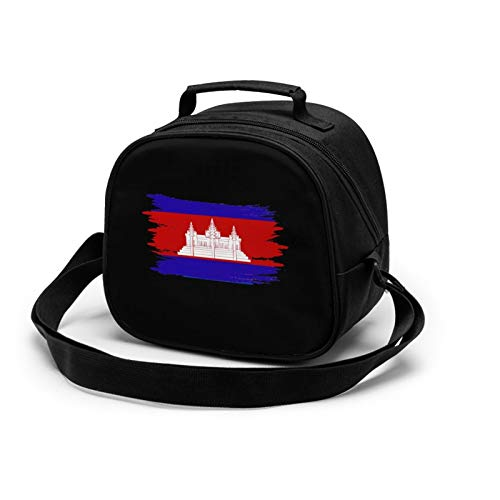 Cambodian Buddha Flag Lunch Tote Lunch Bag Waterproof Reusable Lunch Box Portable Meal Bag Ice Pack For Kids Boys Girls