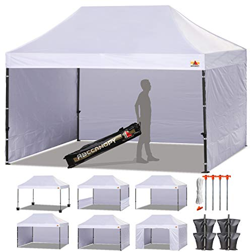 ABCCANOPY Canopy Tent Popup Canopy 10x15 Pop Up Canopies Commercial Tents Market stall with 6 Removable Sidewalls and Roller Bag Bonus 4 Weight Bags and 10ft Half Wall, White