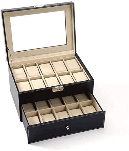 Gran Caja de Reloj de Cuero de 20 tragamonedas Mostrar Caja Organizador de Vidrio Top Joyería JUBC