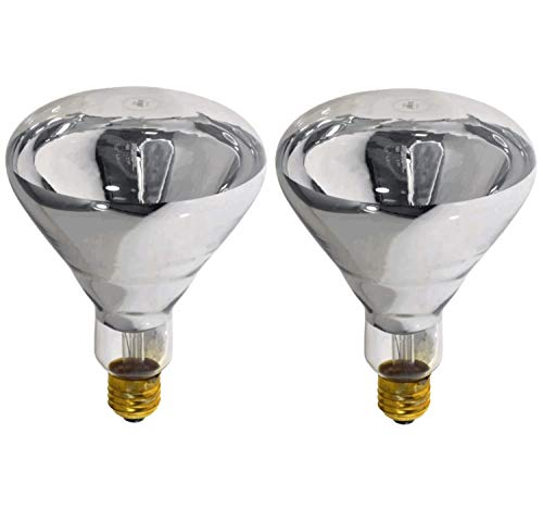 Sterl Lighting - Pack of 2 BR40 Heat Lamp Clear Flood Reflector Light Bulb - 250 Watts - 120 Volts - E26 Base - 2700K - 1500 Lumens