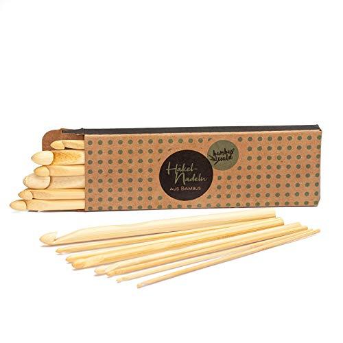 bambuswald© nachhaltige Häkelnadeln aus 100% ökologichen Bambus | ca. 15cm lang : 16x im Set (1x je Größe- 2,0 bis 12mm) - Nadel für Anfänger & Profis - Set für Häkelstunden & echte Handarbeiten