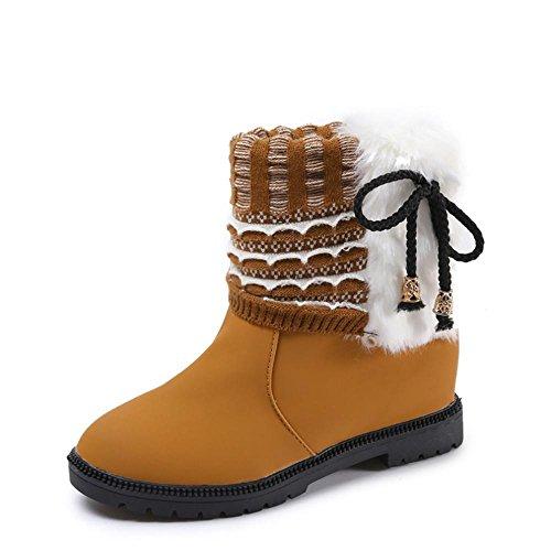 SAHNGXIAN Damen Warm gefütterte Stiefel Stiefeletten Satinoptik Schuhe Bequeme Schlupfstiefel...