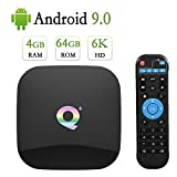Android 9.0 TV Box ,Android TV Box 4GB Ram 64GB Rom H6 Quad Core Support 2.4G WiFi/4K/6K Ultra HD/3D/H.265/USB3.0 Q Plus Smart Media TV Box