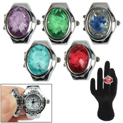 Blumenring für Frauen, 925 Sterling Silber Ring Mini-Finger-Ring-Entwurfs-Quarz-Uhr mit Jewel Cover & StretchyBand