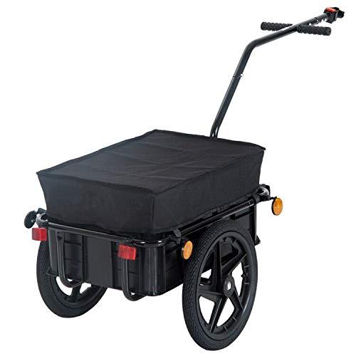 HOMCOM Remorque vélo remorque de Transport pour vélo 144L x 59l x 80H cm Barre d'attelage Universelle Acier Noir