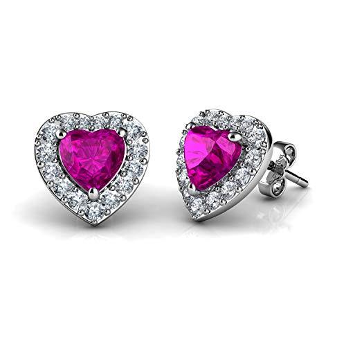 DEPHINI - Pendientes de corazón rosa - Plata de ley 925 - Colgante de cristal CZ - Pendientes de tuerca para mujer - Plata chapada en rodio - Circonita cúbica