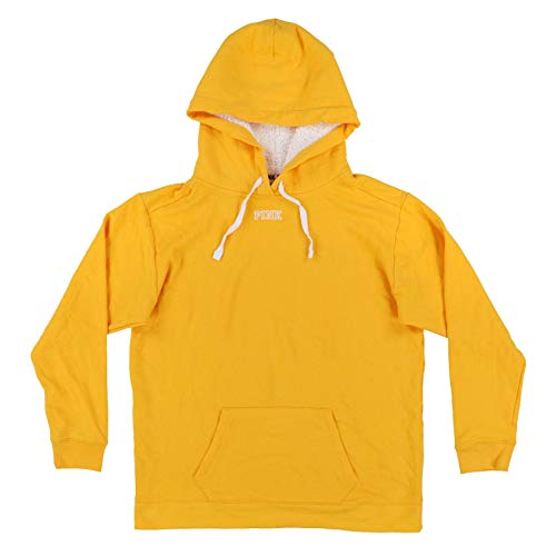 Victoria's Secret Pink Hoodie Pullover Sweatshirt with Sherpa Lined Hood (L, Yellow)