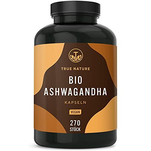 Bio Ashwagandha - 270 Kapseln mit je 650mg - Hochdosiert mit 2600mg pro Tagesdosis - Premium indische Bio Schlafbeere - Vegan, Laborgeprüft, Deutsche Produktion - TRUE NATURE®