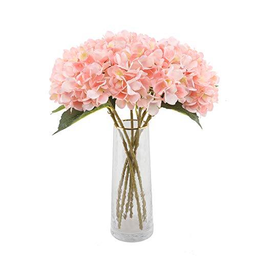 Decpro 6 STK Künstliche Hortensien, 6,6 Zoll Single Stem Hydrangea Seidenblumen für Brauthochzeitssträuße, Haus, Büro, Hotel, Partydekoration, Mittelstücke, Blumenarrangements(Rosa)