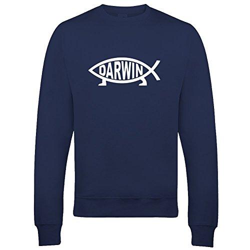 Ice-Tees Herren Sweatshirt Darwin Fish- Ichthys Symbol of Evolution Spoof Parody Gr. 50 DE/52 DE Medium, Navy