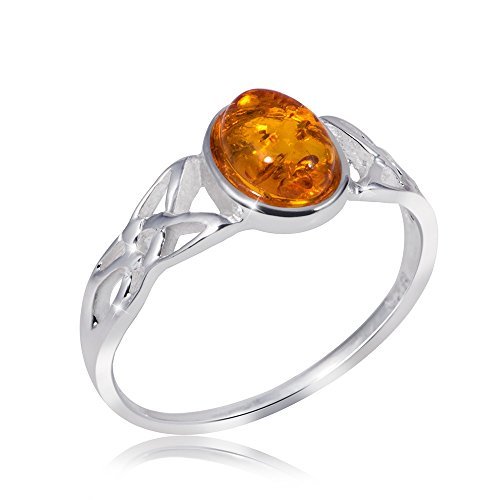 MATERIA Damen Ring keltisch 925 Sterling Silber Bernstein orange gelb Gr. 16 17 18 19 20 mm #SR-80, Ringgrößen:51 (16.2 mm Ø)