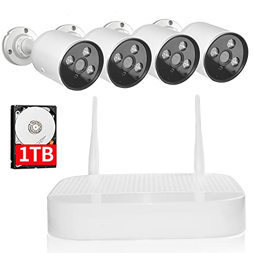 【8CH Expandable】Wifi Security Camera System,Sdeter Outdoor 8 Channel 1080P Home Video Wireless NVR Kit with 1TB HDD,4pcs Indoor Outdoor Surveillance IP Cameras Set,Easy Remote View,Plug Play,Free APP
