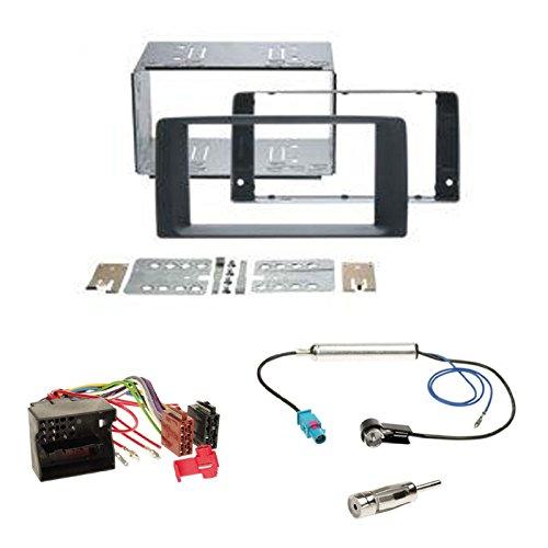 Einbauset : Autoradio Doppel-DIN 2-DIN Blende Einbaurahmen Radioblende schwarz + Quadlock - ISO Radio Adapter Kabel Adapterkabel + Antennenadapter für MAN TGX ab 2007
